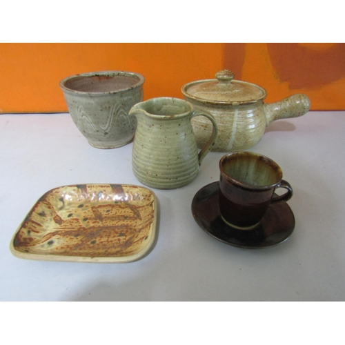48 - Probably by Michael Leach for Yelland Pottery - Collection of studio pottery to include plant pot, m...