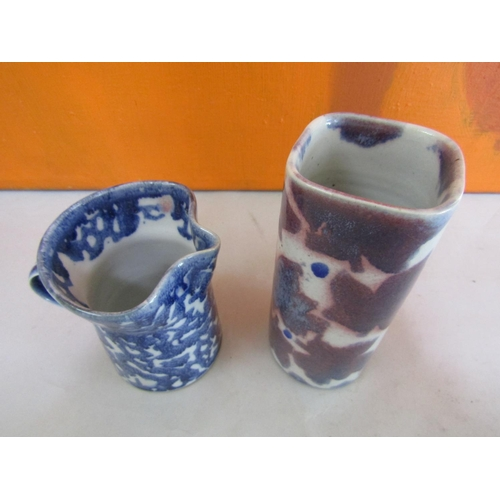 51 - Probably Stephen Course for Dartington Pottery - Studio pottery glazed square cylinder vase with geo...
