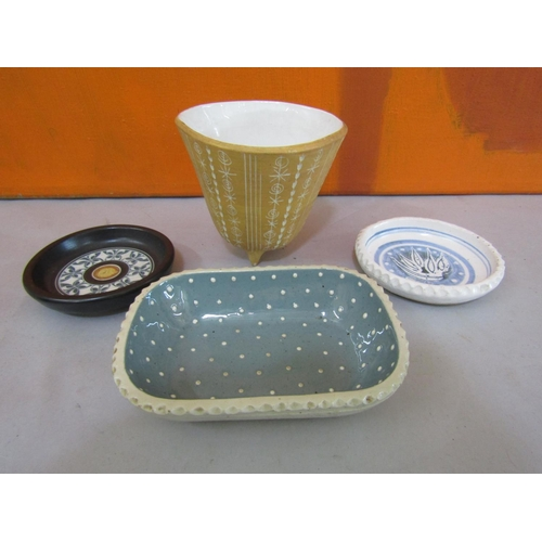 55 - Ambleside Pottery - Four pieces of studio pottery comprising a three foot pot with incised decoratio...