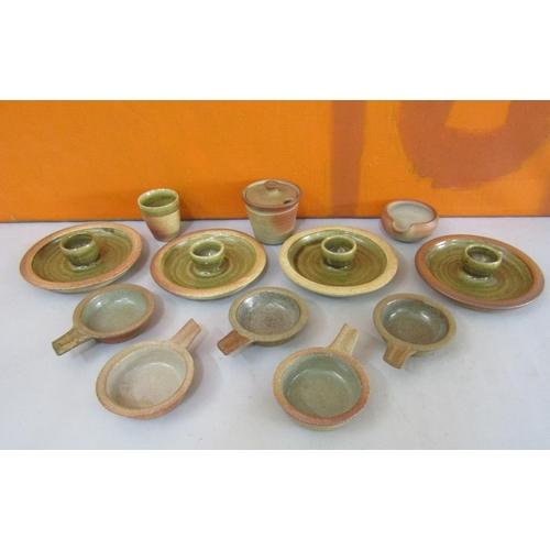 58 - Probably John Leach for Mulcheleny Pottery - Collection of salt glaze studio pottery table wares com...