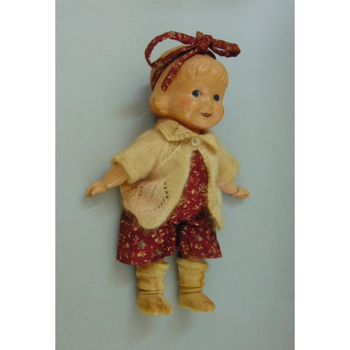 27 - 1920s 'Margie' doll by Joseph Kallus, with jointed wooden limbs, composition head, painted blue eyes...