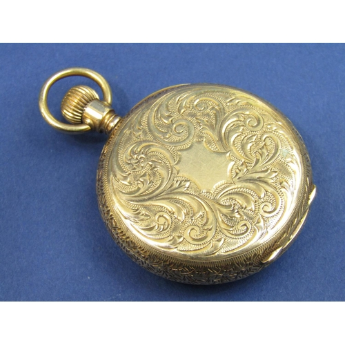 1389 - Attractive 18ct ladies Waltham fob watch, the colourful gilt dial with Roman numerals, good quality ...