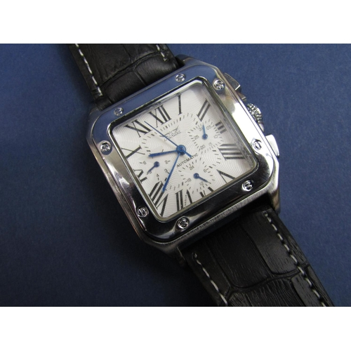 1391 - Gent's stainless steel Jaragar Automatic wristwatch, exhibition back, textured chronograph dial, ori...