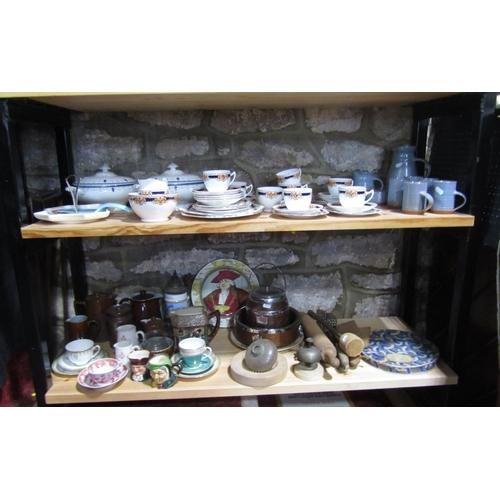 1002 - A collection of Royal Albert Crown China tea wares comprising milk jug, sugar bowl, pair of cake pla...