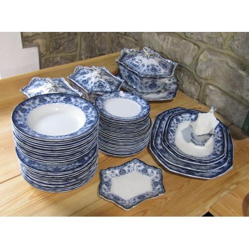 1003 - A collection of Burslem Oxford pattern blue and white printed dinnerwares comprising a large two han...