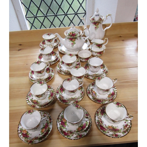 1010 - A collection of Royal Albert Old Country Roses pattern tea and coffee wares comprising teapot, coffe...