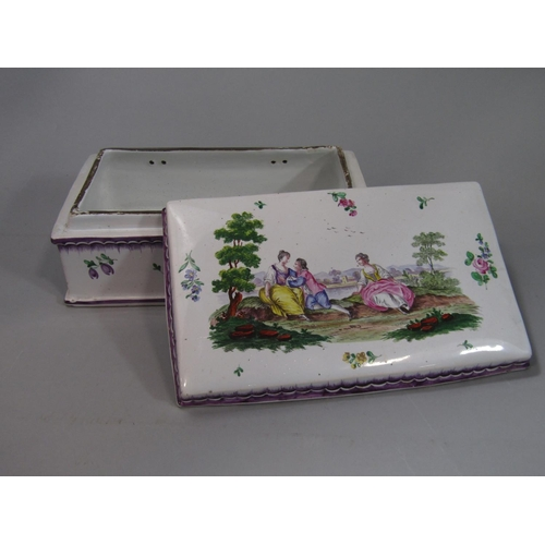 1043 - A 19th century box and cover of rectangular form with painted decoration in the 18th century manner ...