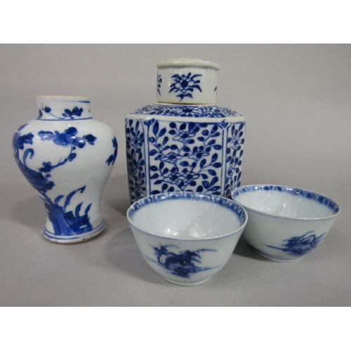 1053 - A collection of oriental blue and white ceramics including a 19th century caddy  and cover of square...