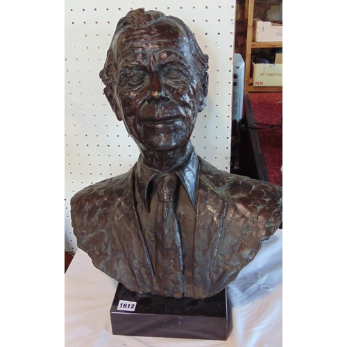 Cast bronze bust possibly of Prince Charles by Shenda Amery, on a black marble plinth base, signed and dated 1996, 51 cm high