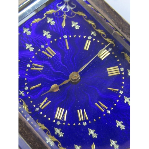 1434 - Fine silver and guilloche enamel carriage type miniature time piece, the dial with gilt hands and Ro...