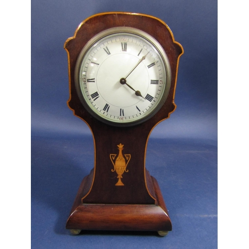 1436 - Edwardian mahogany balloon head time piece with box wood inlay of a twin handled urn, convex dial wi...