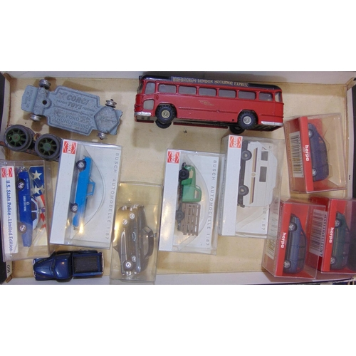 16 - Unboxed model vehicle collection including a Budgie Midland Red bus, 2 larger cars by Saico, further...