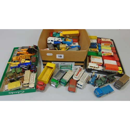 19 - Collection of small unboxed model vehicles by Lesney, Budgie, Matchbox, Majorette etc together with ...