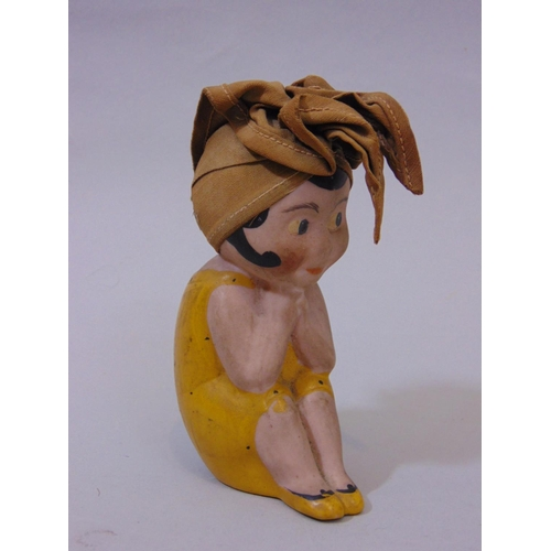 22 - Small mixed  collection of vintage toys including farm animals, a ceramic half doll brush, a further...