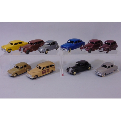 28 - Small collection of  Dinky toy cars including French Citroen 2CV, Simca Aronde, Citroen 11BL and For...