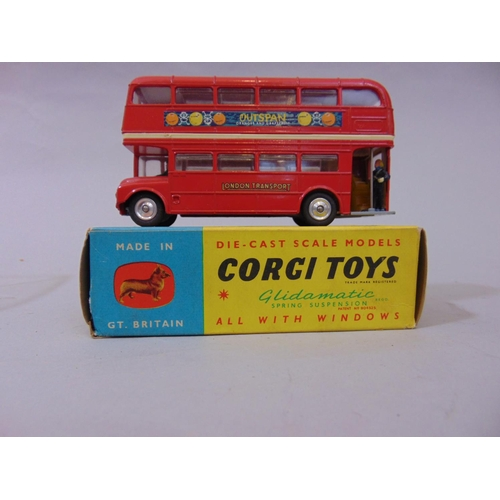31 - Corgi 468 Routemaster bus together with a Solido London Transport Double Decker bus, a Lesney'Matchb...