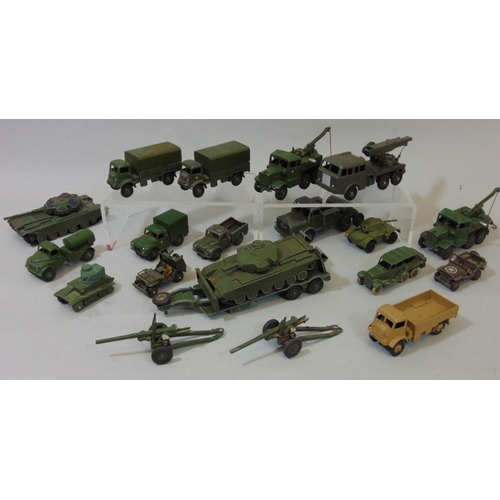 32 - Collection of Dinky model military vehicles including Centurion tanks, army trucks, recovery tractor...