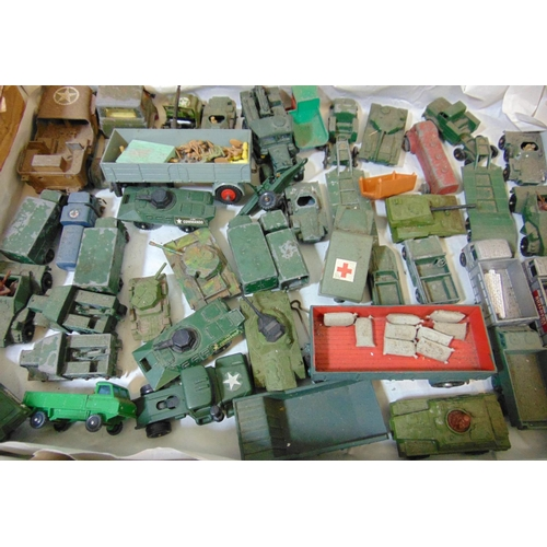 35 - Collection of military model vehicles by Dinky, Lesney, Corgi Juniors, Husky including die-cast wars...