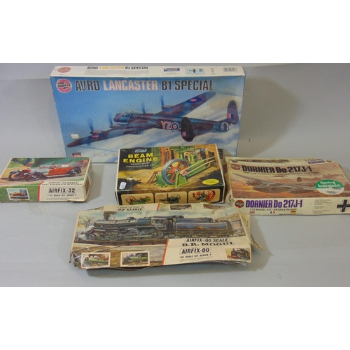 Airfix model kits: Avro Lancaster B1 special (with original cellophane), Dorner Do 217J-1, BR Mogul, 1911 Prince Henry and Beam Engine. See condition report (5)
