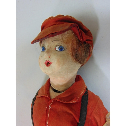 45 - Vintage character doll, 42cm tall with composite head and body, Lenci type painted features, side gl...