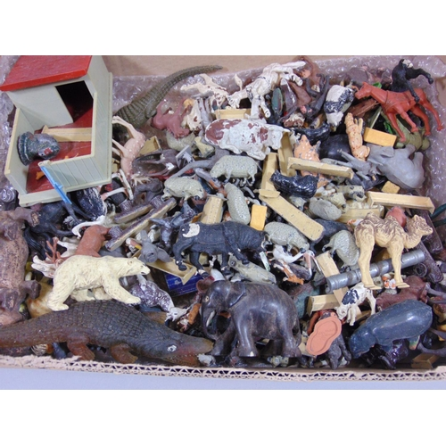 46 - Boxful  of vintage farm and zoo animals, including painted lead figures by Britains and other plasti...