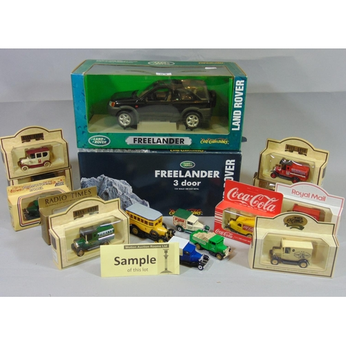 54 - Model vehicles including 2 ERTL boxed Freelander Landrovers, Corgi Cars, and a quantity of boxed Lle...