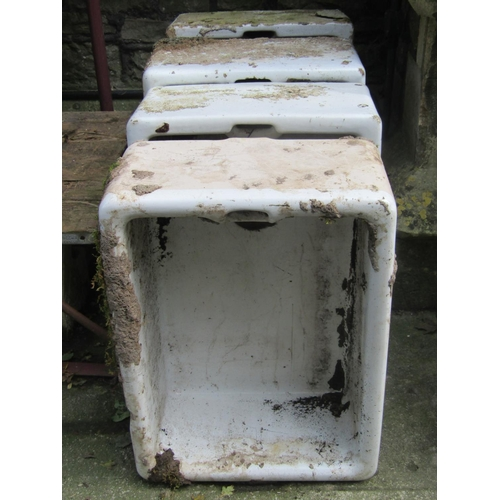 2009 - Five (four deep, one shallow) reclaimed white glazed butlers sinks, later used as garden planters (A...