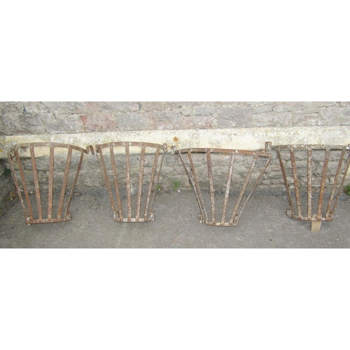 2015 - Four old strap work, wall mounted bow fronted baskets 53 cm high (full height x 60 cm wide)...