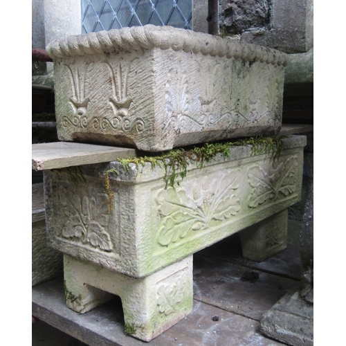 2023 - One lot of contemporary partially weathered cast composition stone garden planters and flower trough...