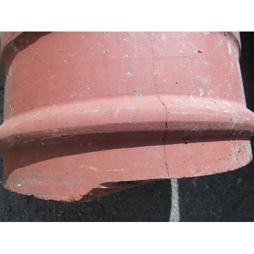 2029 - A pair of reclaimed terracotta vented cylindrical chimney pots, 78 cm high (AF) (until recently used...