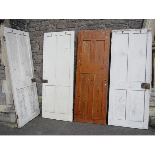 2031 - Four similar reclaimed painted pine four panelled internal doors, approx 196 cm high x 76 cm wide...