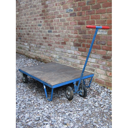 2034 - A useful flat bed hand cart/trolley with T shaped handle, the bed 121 x 81 cm...
