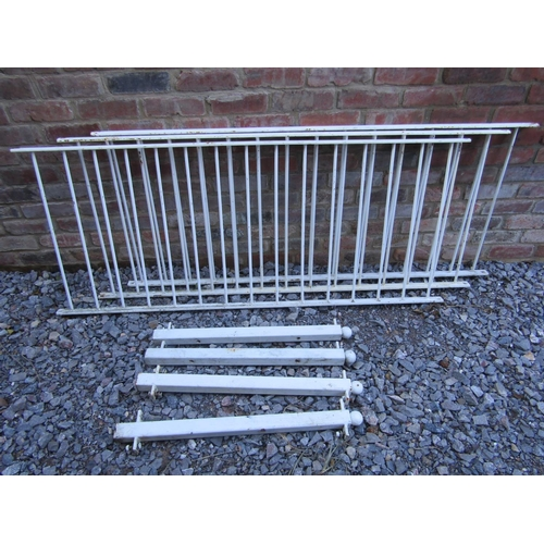 2038 - Three sections of cast iron railing with simple vertical solid tubular bars and 4 square posts with ...