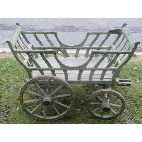 2045 - A small old vintage agricultural type hand/dog cart with shaped splats, spoke wheels, iron rims and ...