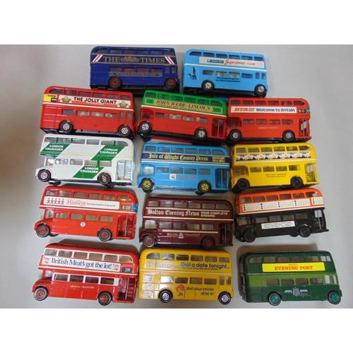 58 - 14 Corgi double decker buses with boxes (a boxful)...
