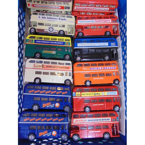 59 - 25 Corgi London Transport Routemaster double decker buses, with various colours and advertising, wit...