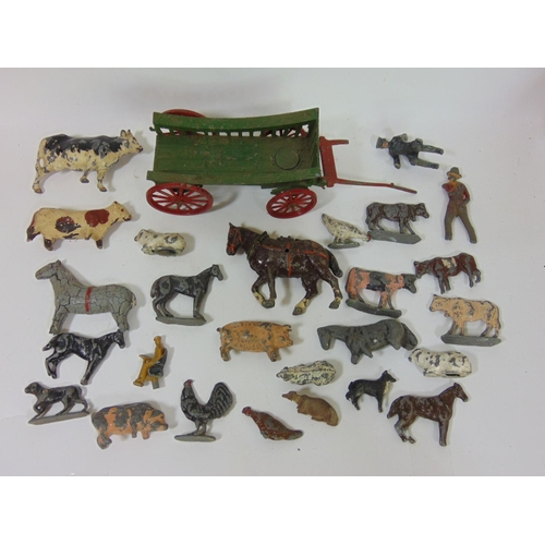 14 - Collection of pre war die-cast farm animal toys and a cart by Charbens (all playworn and AF)...