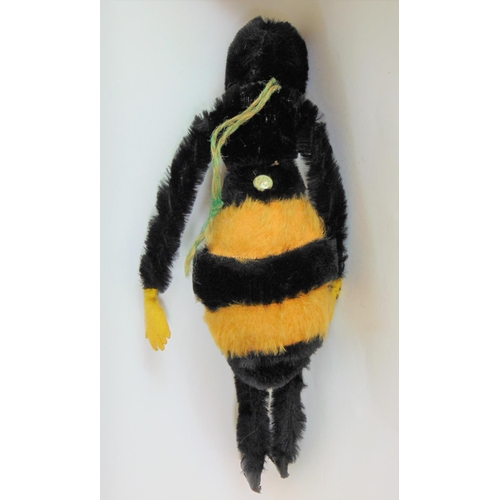 2 - 1930's toy bumble bee by Chad Valley with fur body, velvet face (1 eye missing), wired legs, pin on ...