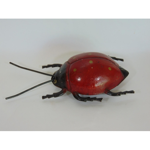 4 - Tinplate clockwork ladybird dated 1911 with forward and sideways action, by Gunthermann, Bavaria, le...