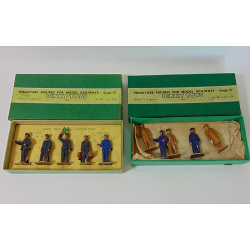 7 - 2 boxed sets of Dinky toys 0 gauge miniature figures: No 4 Engineering Staff and No 1 Station Staff ...