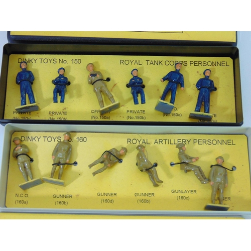 8 - 2 complete box sets of Dinky Toy miniature figures including 160 Royal Artillery Personnel and 150 R...
