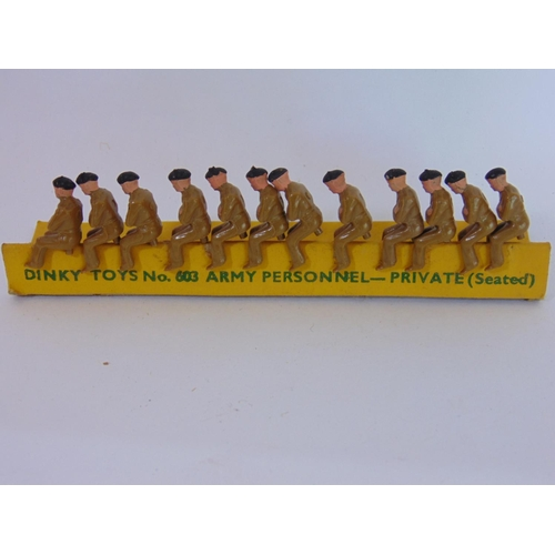 9 - 2 complete sets of Dinky Toys 603 Army Personnel (seated) together with other similar unboxed figure...