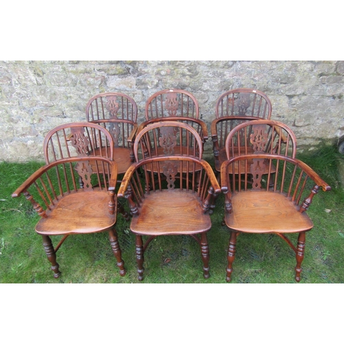 2692 - A beautifully matched set of six early/mid 19th century low decorative splat back Windsor armchairs ...