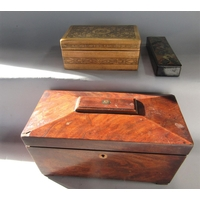 A 19th century mahogany sarcophagus tea caddy with hinged lid together with a further lacquered pen box and further pen work box (3)