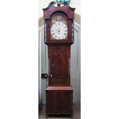 2557 - A Regency mahogany longcase clock, the case with well figured flamed veneered door, within reeded an...