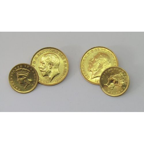 1311 - Pair of cufflinks composed of two half sovereigns dated 1925 and 1926 and two further gold coins, 11...