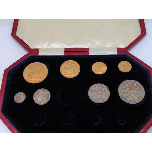 1312 - 1887 gold and silver part specimen set to include 5 sovereign, double sovereign, sovereign, half sov...