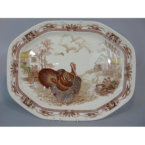 1059 - The Barnyard King Turkey plate, Edwardian, yellow and floral dressing ware, Sylvac punch bowl, two j...