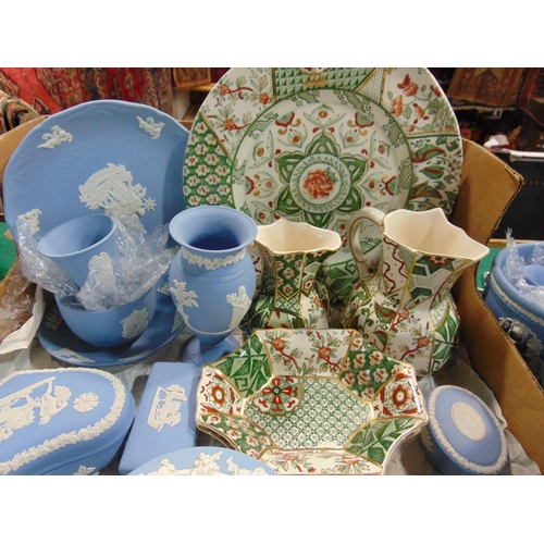 1060 - Large collection of Wedgewood blue jasperware and 5 pieces of Masons Ironstone  pottery...