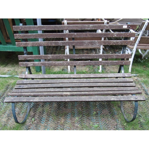 2051 - A three seat garden bench with weathered timber lathes and sprung steel supports, together with a si...
